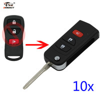 DANDKEY 10x 3 Buttons Remote Key Shell For Nissan Livina X Trail Gennis Tiida Sylphy Infiniti Xterra Frontier Muranon