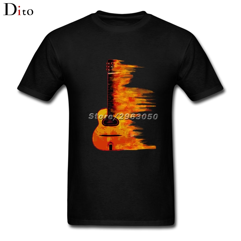 Burning Guitar T-shirt Mens Funny White Short Sleeve Custom Big Size Couple Flaming Acoustic Guitars T Shirts
