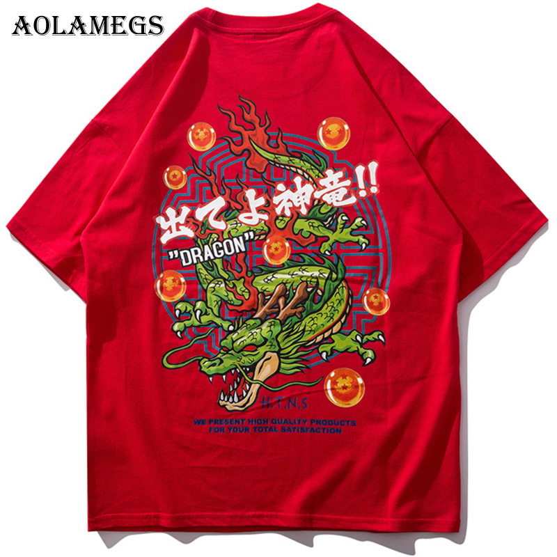 Aolamegs T Shirt Men Japanese Dragon Printed Men 39 s Tee Shirts O neck T Shirt Fashion Hip Hop High Street Couple Tees Streetwear in T Shirts from Men 39 s Clothing