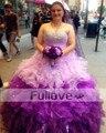 Moda Lilás Cristal Puffy Quinceanera Vestido Longo 2017 Querida Plissado vestido de Baile Em Camadas vestidos de Festa Vestidos de Baile De 15 Anos