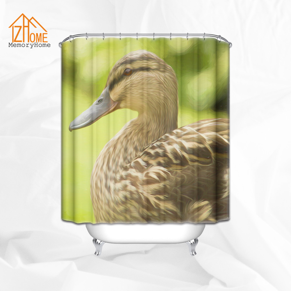 Ducks Unlimited Shower Curtain Hooks - Memory home duck printing shower curtain custom polyester waterproof fabric bath curtains bathroom product with 12