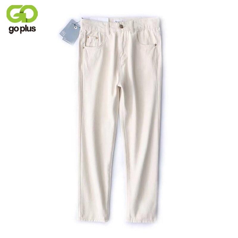 GOPLUS White Jeans Woman 2019 New Preppy Casual Style Loose High Waist Ankle Length Harem Jeans Pants Boyfriend Vestido C5768