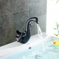 Oil Rubbed Bronze Single Hole Bathroom Basin Sink Faucet with Dual Handles Lavatory Duck Shape Decor Mixer Tap