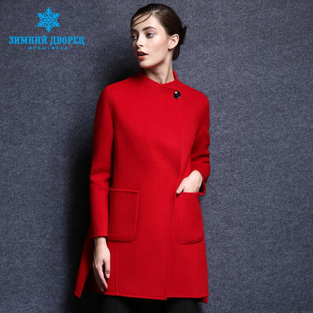 2016 popular fashion winter Long woman Coat cashmere coat female Turn-down Collar wool women coat top grade wool coat