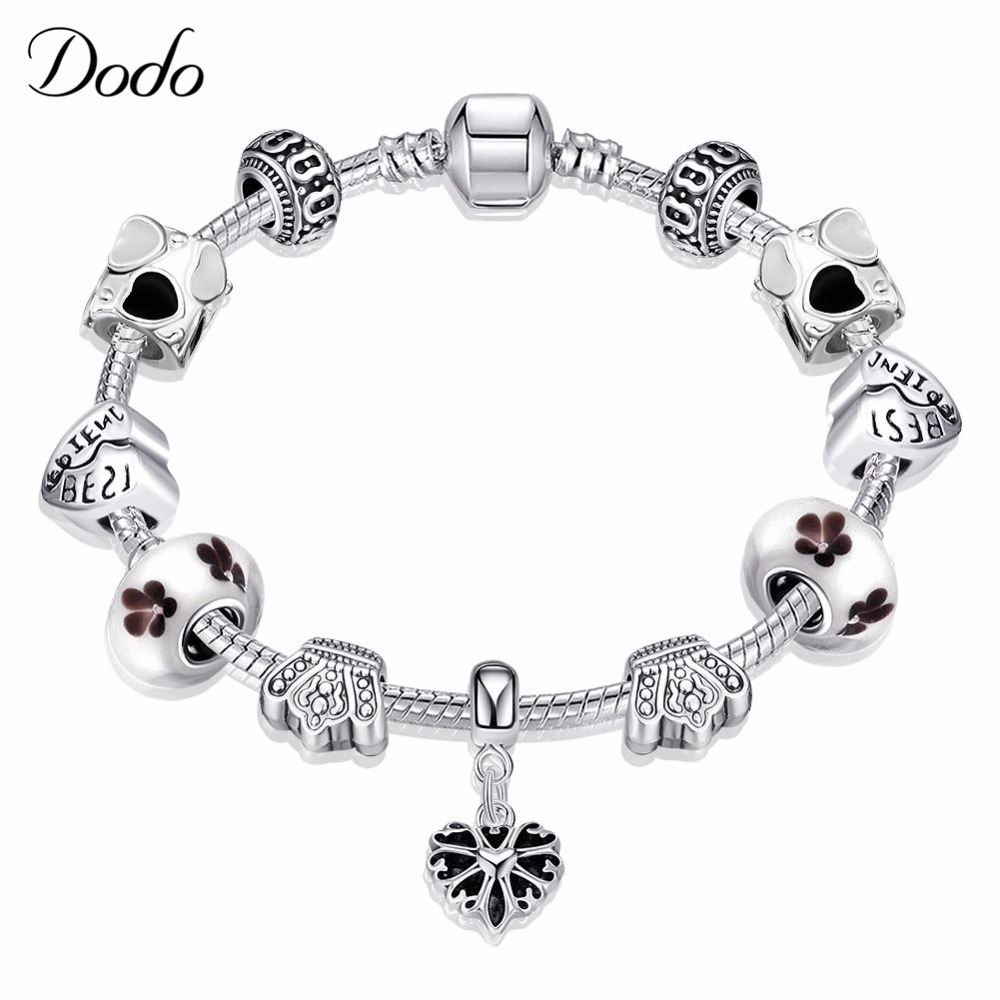 Vintage Jewelry Crowns Bracelet & Bangles Antique Silver Plated Crystal Beads Cherry Charm Pendant Bracelet for Women Gifts P34