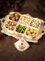 European style dried fruit box candy melon seeds snack plate dried fruit plate ceramics latticed and covered creative liv