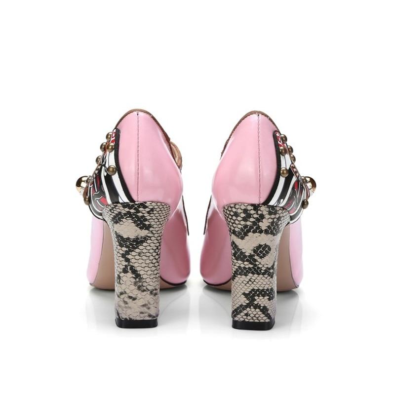 De pink En Conception Black Printemps Hauts Cuir Stylesowner Mode Femme Dame Style 2018 Simples Populaire Ethnique Pompes Talons Automne Super Verni Chaussures qfnOvfZ1