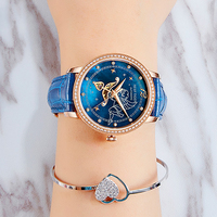 New Reef Tiger/RT Fashion Womens Watches Blue Dial Rose Gold Watches for Lover Diamonds Ladies Watches Relogio Feminino RGA1550