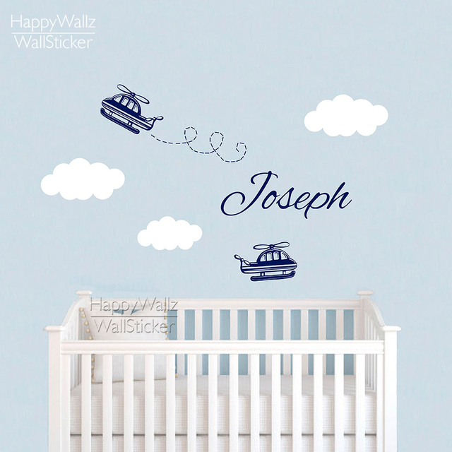 Baby Nursery Airplane Wall Sticker DIY Custom Name Wall Decal Children Name  Kids Rooms Airplane Clouds
