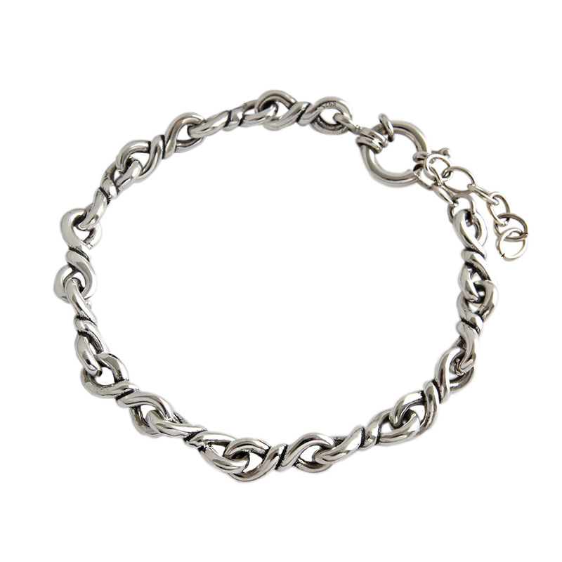 100 925 Sterling Silver Punk Rock Men Women Twisted wire Chain Bracelets Bangles Hiphop Never Fade Jewelry Gift in Chain Link Bracelets from Jewelry Accessories