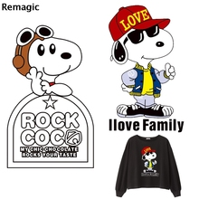 Cartoon dogs cute Iron on Heat Transfer Patches Kids Clothing DIY couple family Applique T-shirt Custom Sticker