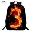 SHUNAN Brand Oxford Fashion 16 Inch Printing Horse Flame Number 3 Teenage Book Bag Kids Baby School Bags for Children Backpack