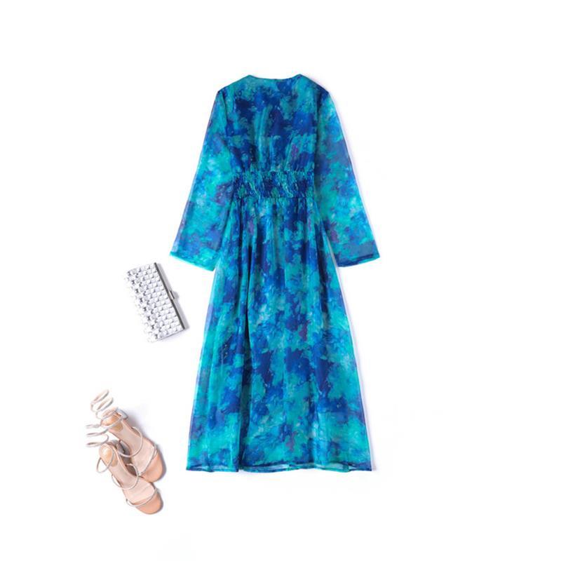 Élastique À Manches Taille V Automne Lady Robe cou Haute Femmes Imprimé Longues 2018 Npd0839 Robes Piste Qualité De qvO64xwO