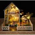Casa De Boneca De Madeira DIY Montagem de Brinquedos para o Presente das Crianças, criativo NOVA casa de Bonecas Em Miniatura-Nórdico Do Feriado Frete Grátis
