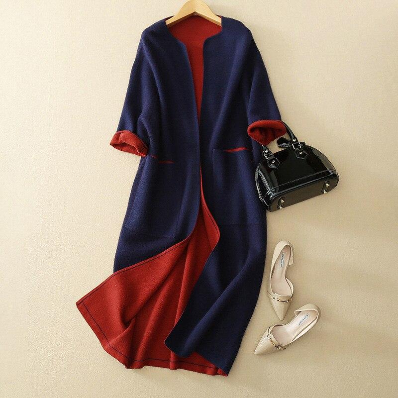 double sided color pure mink cashmere knit women fashion long cardigan sweater coat 3quarter sleeve S 2XL wholesale retail