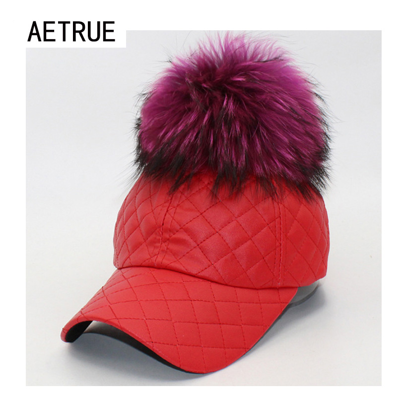 Fashion Women Caps PU Leather Baseball Cap Snapback Brand Bone Fur Ball Warm Winter Hats For Women Gorras Ball Plain Winter Hat ht647 warm winter leather fur baseball cap ear protect snapback hat for women high quality winter hats for men solid russian hat
