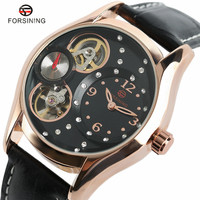 FORSINING Luxury Top Brand Mens Mechanical Watches Leather Band Modern Tourbillon Self Wind Women S Watches