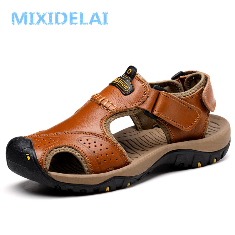 MIXIDELAI Brand Genuine Leather Summer Soft Male Sandals Shoes For Men Breathable Light Beach Casual Quality Walking Sandal 2018