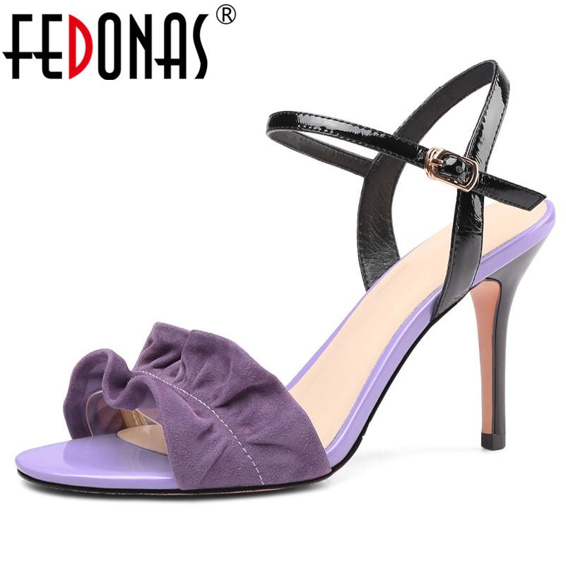 FEDONAS Summer Elegant Round Toe Thin Heels Women Sandals Pleat Kid Suede Patent Leather Buckle Pumps Party Prom Shoes WomanFEDONAS Summer Elegant Round Toe Thin Heels Women Sandals Pleat Kid Suede Patent Leather Buckle Pumps Party Prom Shoes Woman