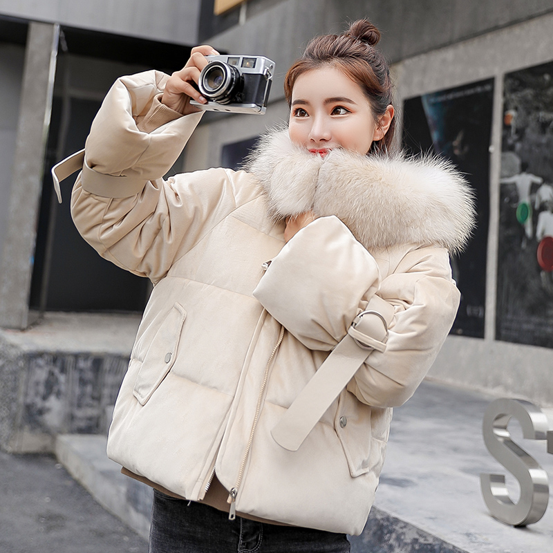 winter jacket coats women   parkas   2019 Fashion jacket flannel fabric Large fur collar thick warm hooded jacket coat   parka