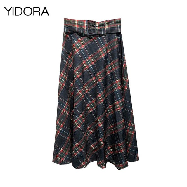 304e2c229d53 Autumn 2018 Women High Waist Check A-line Midi Skirt With Matching Buckle  Belt - Ladies Vintage Plaid Skirt Side Zip Fastening
