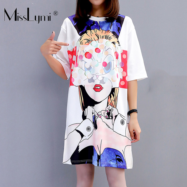 M-XXL Big Size Women T shirt Dress Summer 2019 Masked Cartoon Girls Print  Short Sleeve White Loose Casual Beach Short Dresses 83043cfe8
