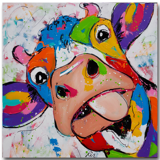 Cartoon Painted Large Printed Canvas Paintings Cow Oil