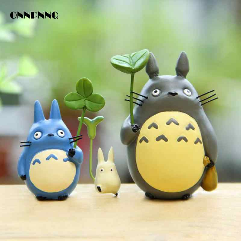 Totoro Doll With Leaves Pendulum Miniatures Figurines Cartoon Animal Diy Micro Landscape Miniature Garden Statuette Decoration