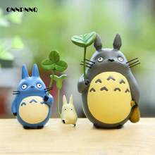Totoro Doll With Leaves Pendulum Miniatures Figurines Cartoon Animal Diy Micro Landscape Miniature Garden Statuette Decoration(China)