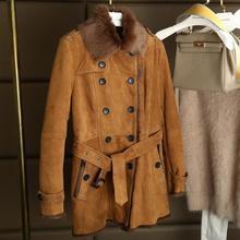 Winter Warm Natural Lamb Fur Coat Fashion Real Double-faced Fur Coat Women Slim Sheepskin Suede Belted Jacket Pockets 160713-2