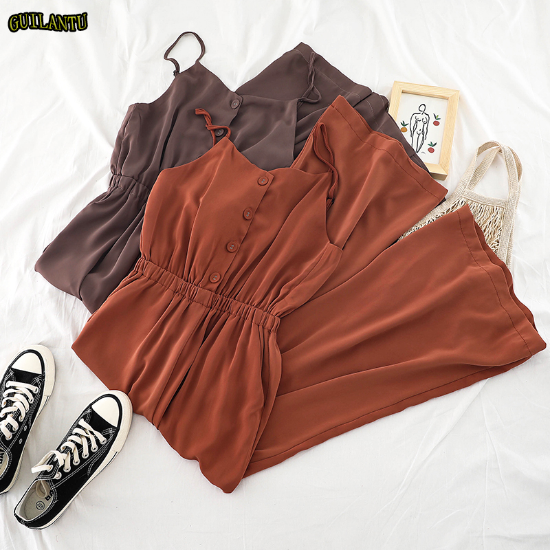 Fashion Sexy   Jumpsuit   Clubwear Women Casual Vintage Long Button Chiffon Playsuit Female Off Shoulder Wide Leg Romper Summergreen