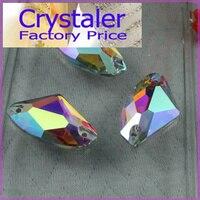 Todo o Tamanho 3256 Galactic AX Sew Em Pedras de Cristal Claro AB Apartamento de Volta 2 furos 5*10,9*14,12*19,16*27mm de Vidro Contas De Cristal De Costura