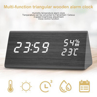 Digital Alarm Clock Wooden LED Display Desk Dual Power Supply Temperature Humidity Detect Hogard FE28