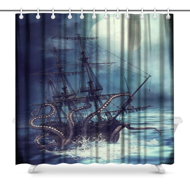 Night Scene With A Pirate Ship Pulled Into Water By Tentacles Bathroom  Accessories Polyester Fabric Waterproof