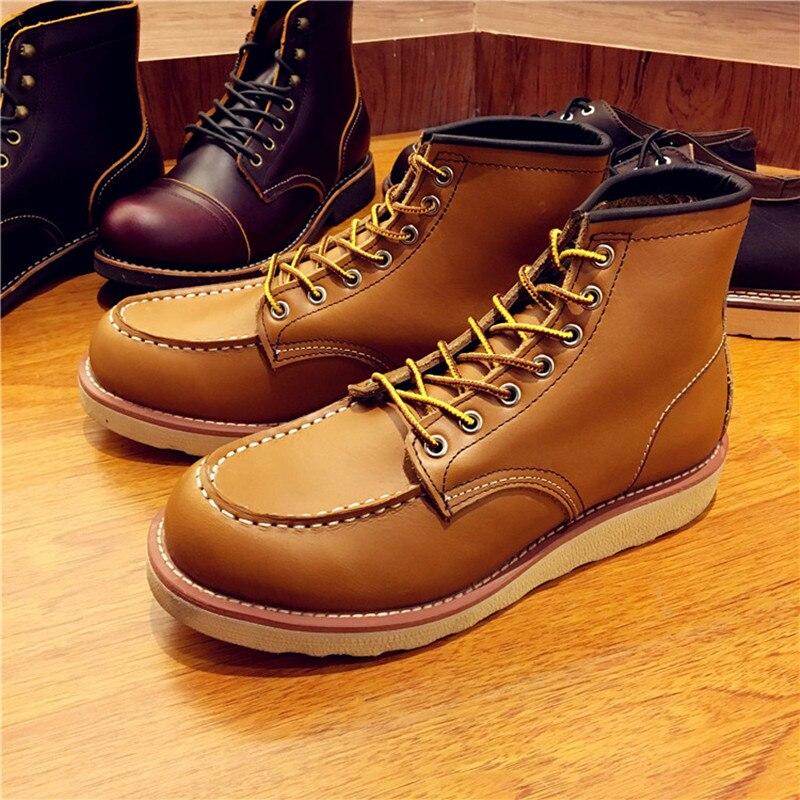 Винтажные мужские ботинки из натуральной кожи на шнуровке мужские рабочие свадебные ботильоны ручной работы повседневные модные красные б... - 6
