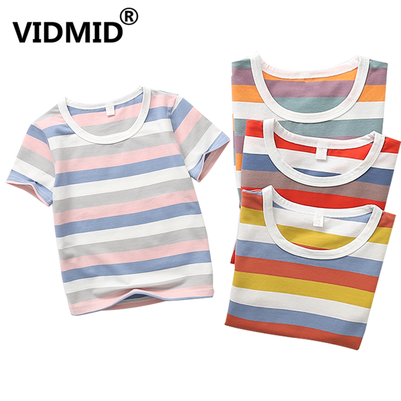 VIDMID T-Shirts Kids Tops Clothing Tees Colorful Girls Striped Boys Cotton Children's