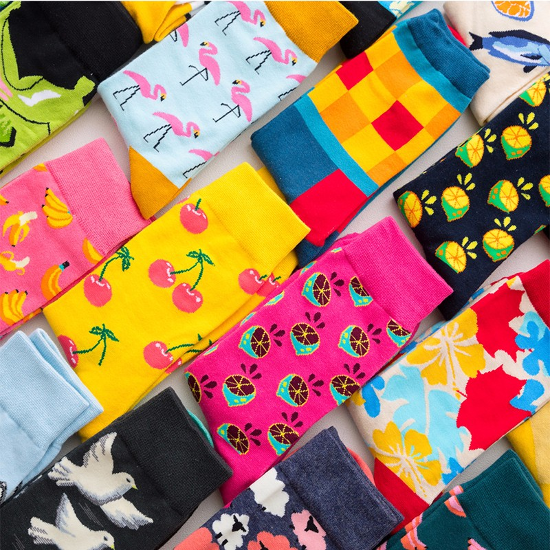 Happy-Socks Crew Harajuku Colour British-Style Novelty Designer Cotton Men Fashion Casual