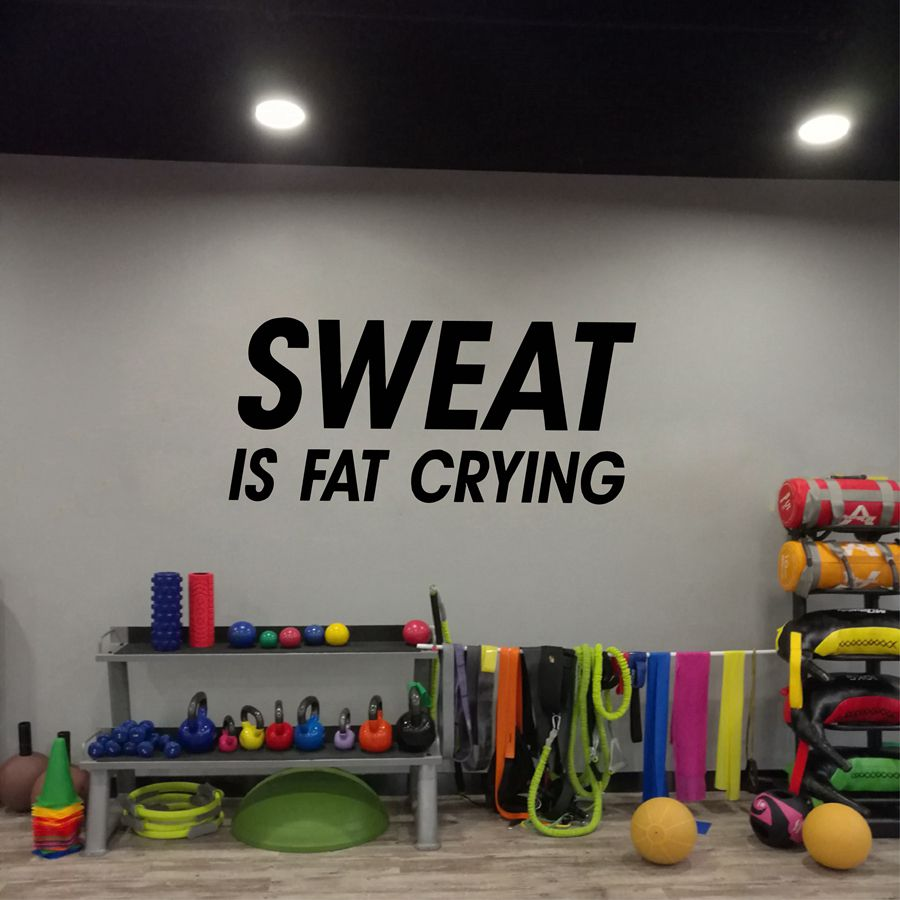 Sweat is Fat Crying Positive Quotes Vinyl Wall Sticker Workout Words Wall Art Decals For