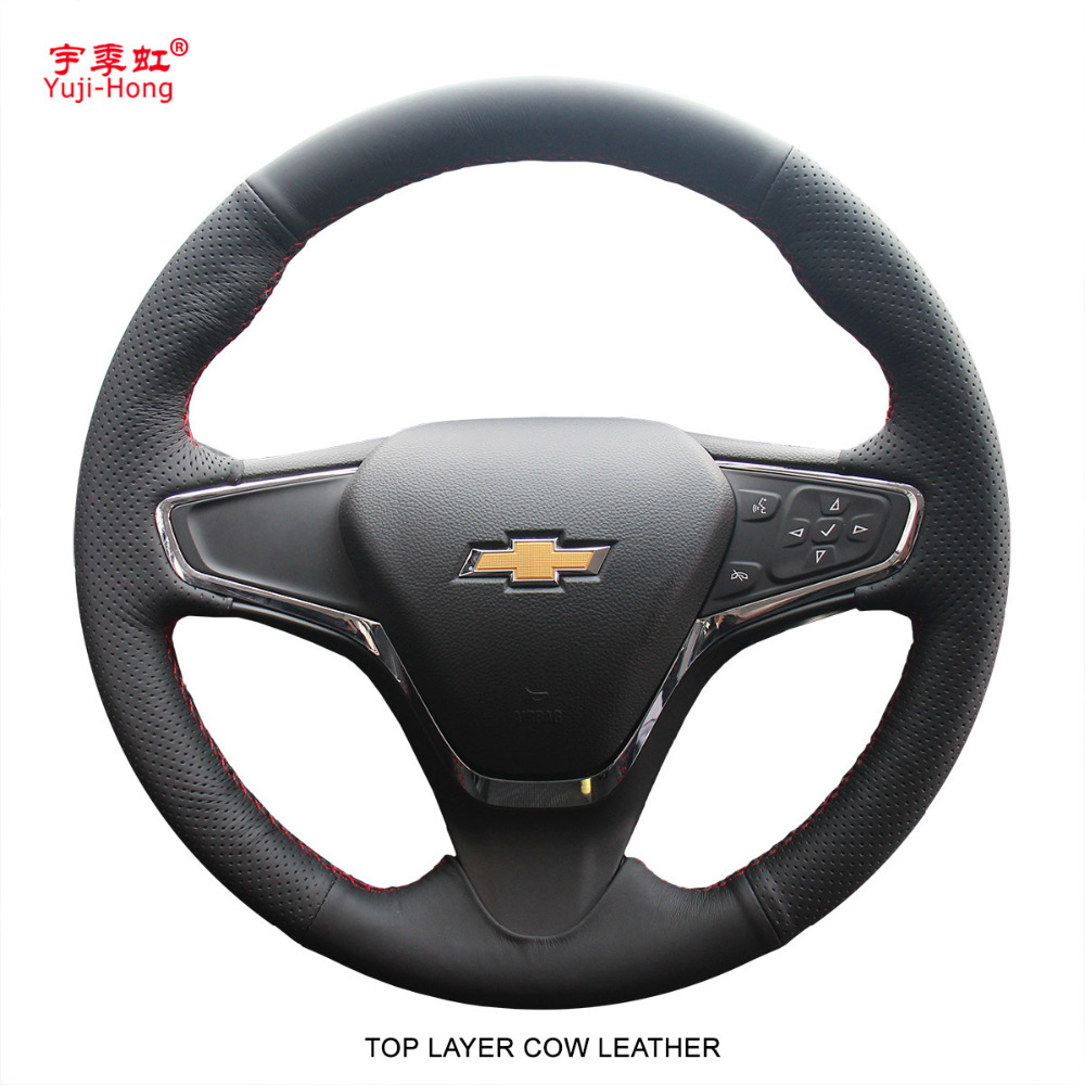 Yuji Hong Top Layer Genuine Cow Leather Car Steering Wheel Covers Case for Chevrolet Cruze 2015