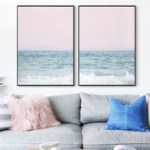 Nordic Pink Sky Posters and Prints Ocean Wave Wall Art Canvas Painting Abstract Landscape Wall Pictures for Living Room Decor(China)