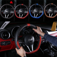 Anti Slip Leather Sport Auto Steering Wheel Covers fit for Alfa Romeo Giulia Stelvio Car styling 38CM
