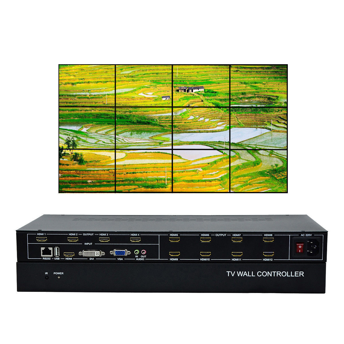 ESZYM 12 canales TV Video pared controlador 3x4 2x6 2x5 HDMI DVI VGA USB Video procesador