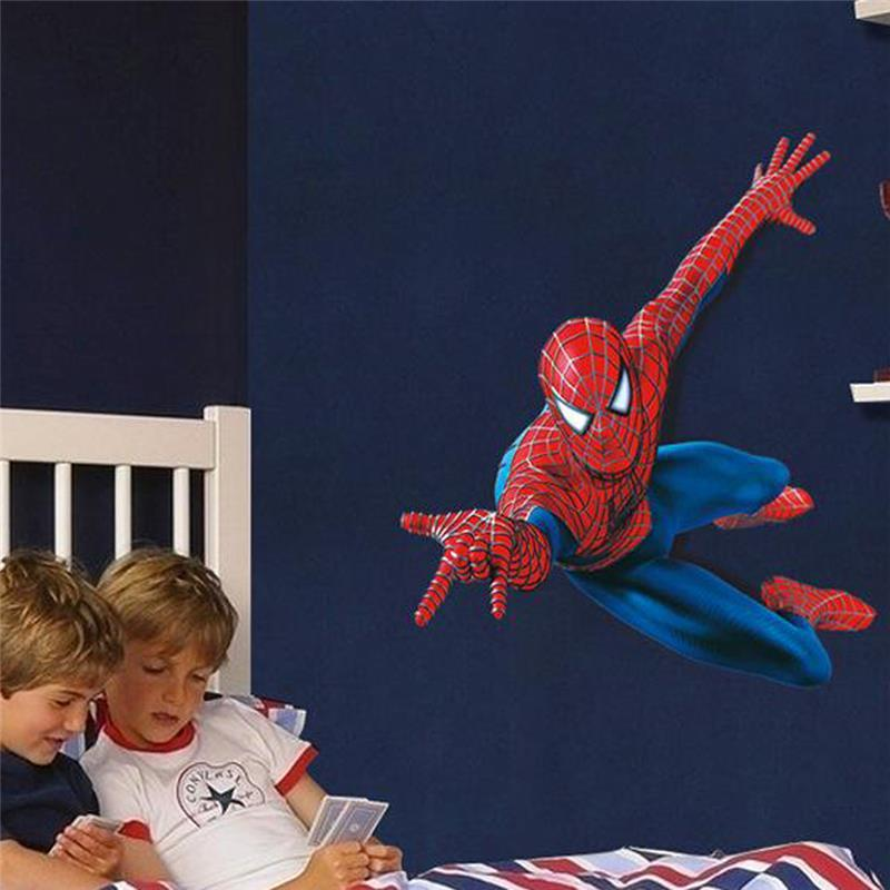 % 3d cartoon movie spiderman wall stickers for kids rooms bedrom boys gifts through wall decals home decoration mural poster