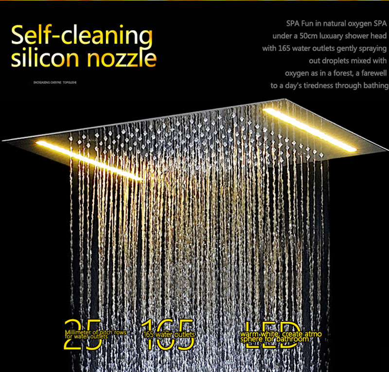 Digital Shower Set Controller Touch Control Panel SUS304 Rainfall Bathroom Thermostatic Control Led Digital Shower Faucet (4)