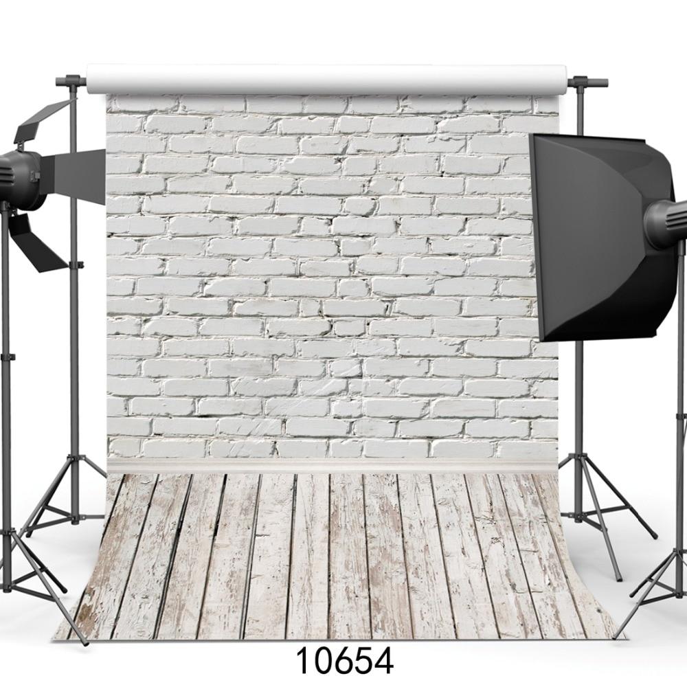 Fondos de fotografía de pared de ladrillo blanco fondos de suelo de madera para mascota juguete foto estudio Baby Shower recién nacidos niños fotófono