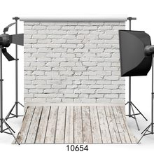 White Brick Wall Photography Backdrops Wooden Floor Backgrounds for Pet Toy Photo Studio Baby Shower Newborn Children Photophone(China)