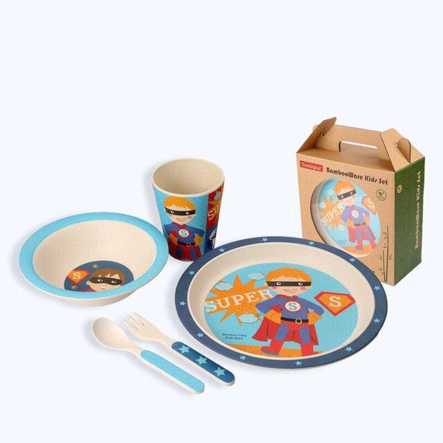 5 шт./компл. Симпатичные прекрасный мультфильм набор посуды для ребенка бамбуковые волокна дети посуда набор тарелка чаша чашка вилки ложки