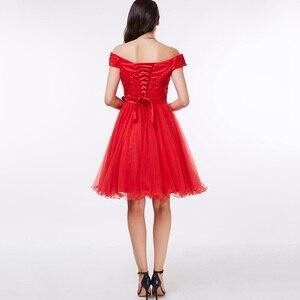 Image 3 - Dressv כבוי כתף קוקטייל שמלה שחור ללא שרוולים הברך אורך קו תחרה עד שיבה הביתה קצר קוקטייל שמלות