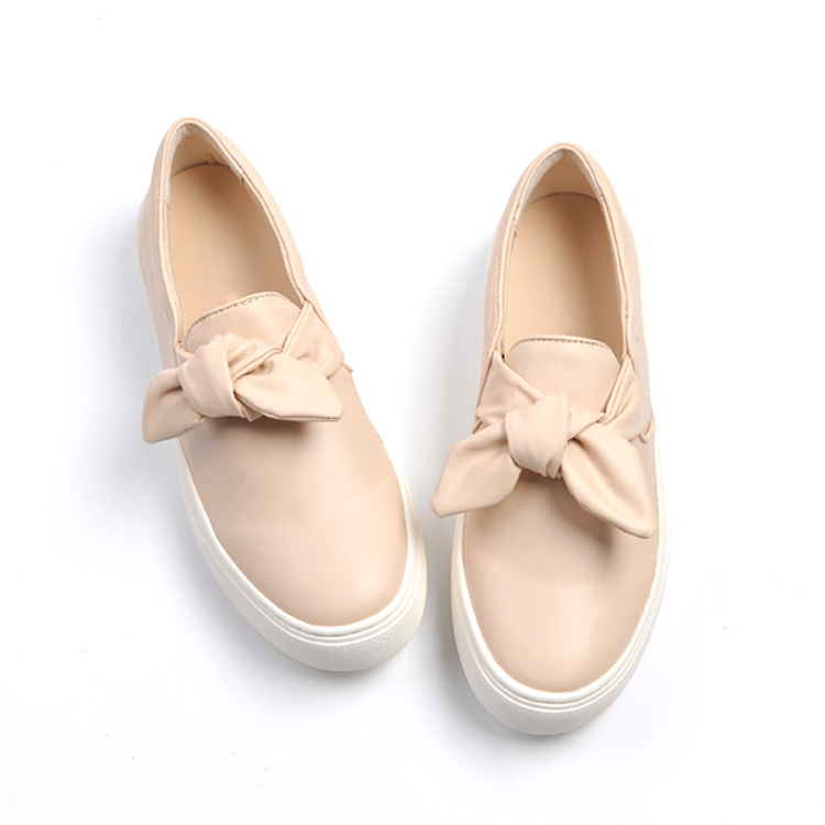 Women Bowtie Slip on Loafers Platform Casual Sneakers Shoes Round Toe Flat Shoes nayiduyun women genuine leather wedge high heel pumps platform creepers round toe slip on casual shoes boots wedge sneakers