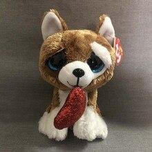 15CM Hot Sale Ty Beanie Boos Big Eyes Heart Dog Unicorn Lola Dog Lion Bat  Alpaca 04b7a7e48425
